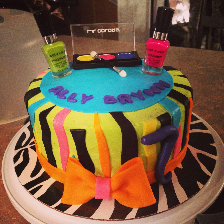Nail Cake: Nail Polish & Make Up Neon Zebra Print Cake By Boss Lady