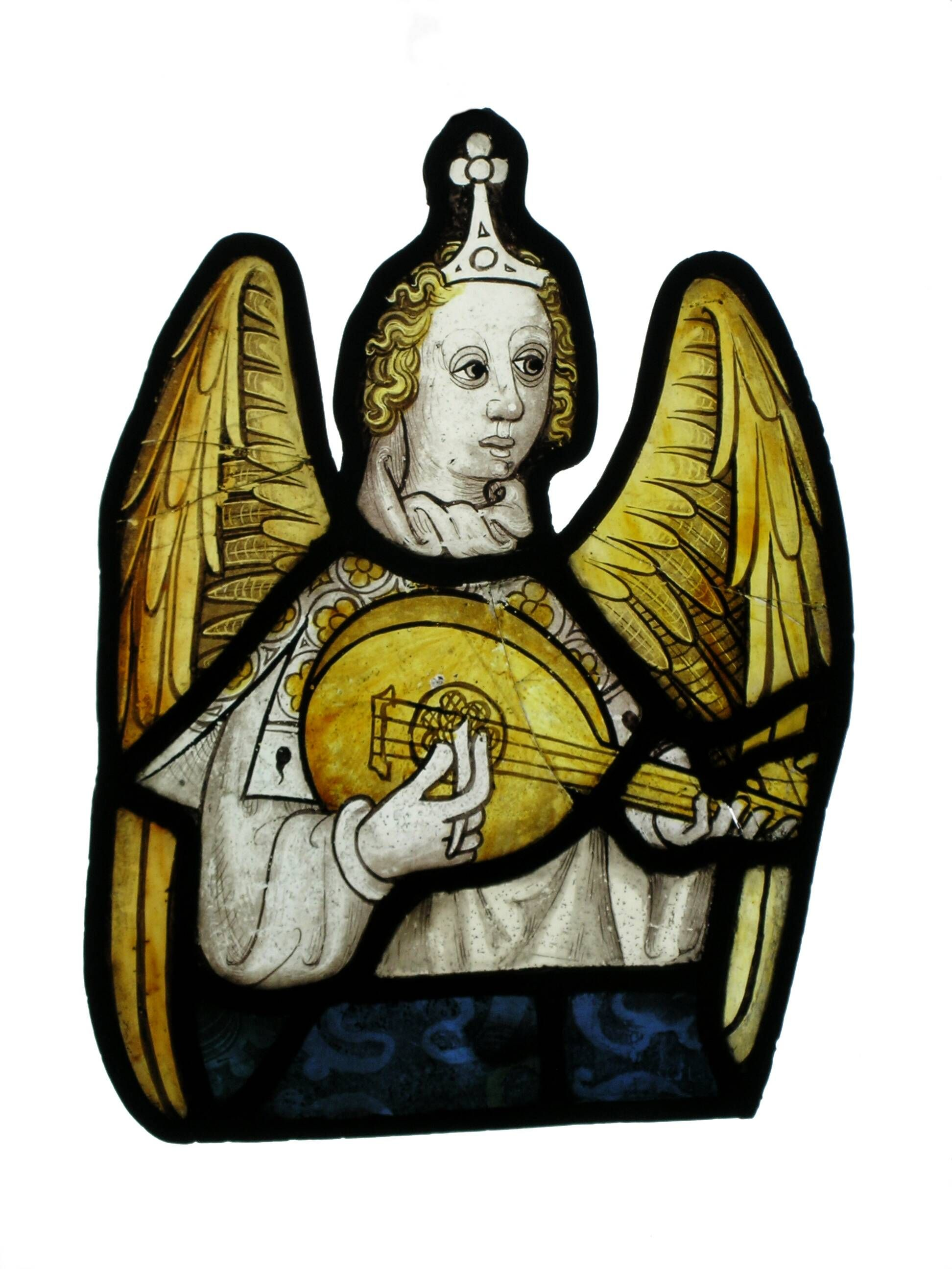 Angel with lute or gittern, c. mid 15th century. Kept at the Walker Art Gallery, Liverpool.  http://www.cvma.ac.uk/jsp/record.do?mode=ADV_SEARCH&photodataKey=17748&sortField=WINDOW_NO&sortDirection=ASC&rowsPerPage=20&selectedPage=1&recPagePos=5