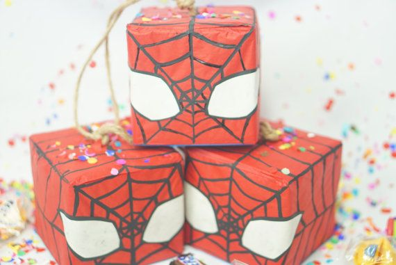 Check out these Super Cute Miniature Surprise Pinatas perfect for any Super Hero Party! These Cute Spider man Inspired Pinatas come in sets of 3 and contain prizes which vary by style & may include: book marks, riddles, sweets, & fortune cookie. Each Pinata has a soft spot on back side which gets punched open to reveal prizes.   Makes an interesting and unique alternative to loot bags or just use as special decor! All Hand-Crafted Pinatas have Slight Variations making each one unique....