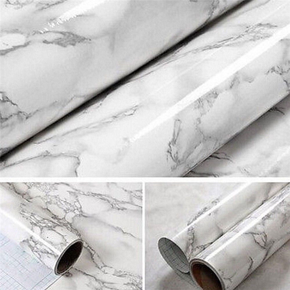 New Marble Paper Self Adhesive Glossy Worktop Peel Stick Wall Stickers Contact Paper Self Adhesive Wallpaper Wood Adhesive