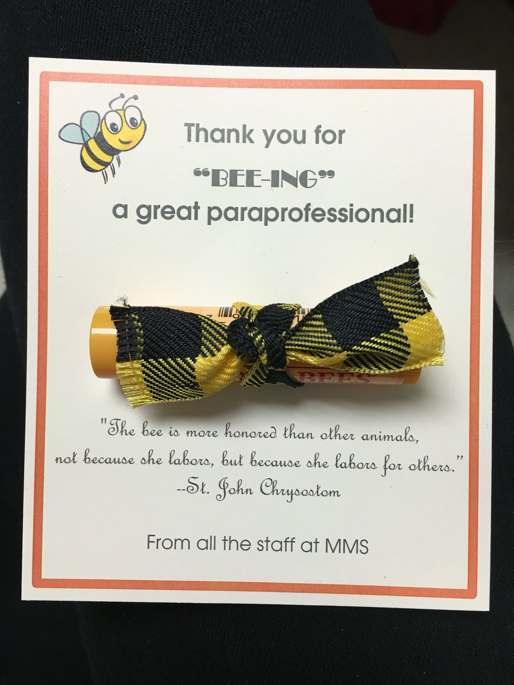 Paraprofessional appreciation gift. Burts Bees gift. Thank you ...
