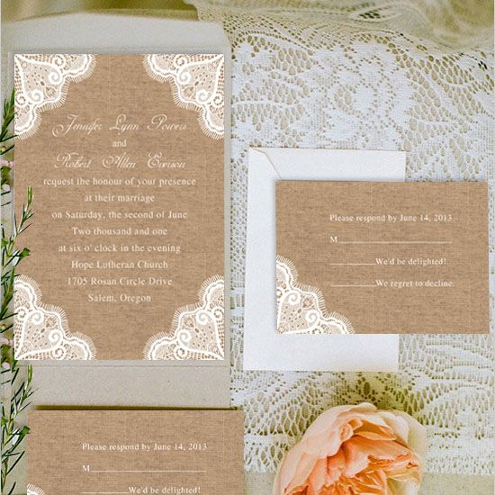 Inexpensive Wedding Invitation Ideas: Cheap Rustic Lace Wedding Invitation Cards