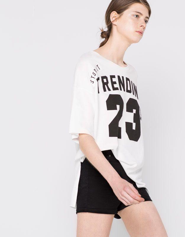 Pull&Bear - mujer - ropa - sudaderas - sudadera print número - blanco - 09590311-I2016