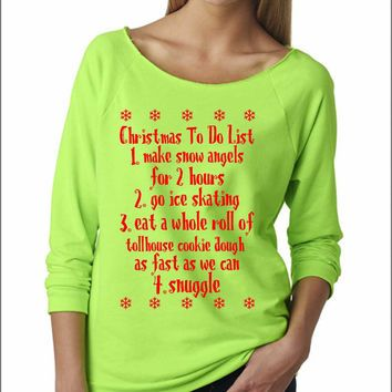 ugly christmas sweater buddy the elf ladies terry off shoulder sweater cozy xmas list - Buddy The Elf Christmas Sweater
