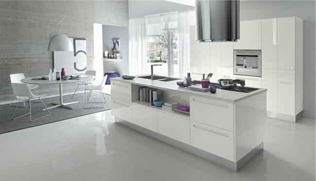 minimalistische küche weiß hochglanz ohne griffe kücheninsel | Küche ...