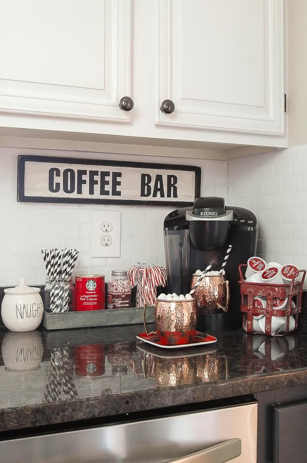 Classic christmas home tour christmas decor apartments for Coffee station decor