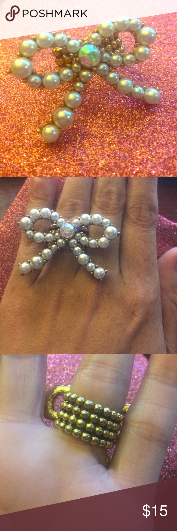 Betsey Johnson Bow stretch ring Stretch ring. In pearls with abs crystal center gem. Goldtone Betsey Johnson Jewelry Rings