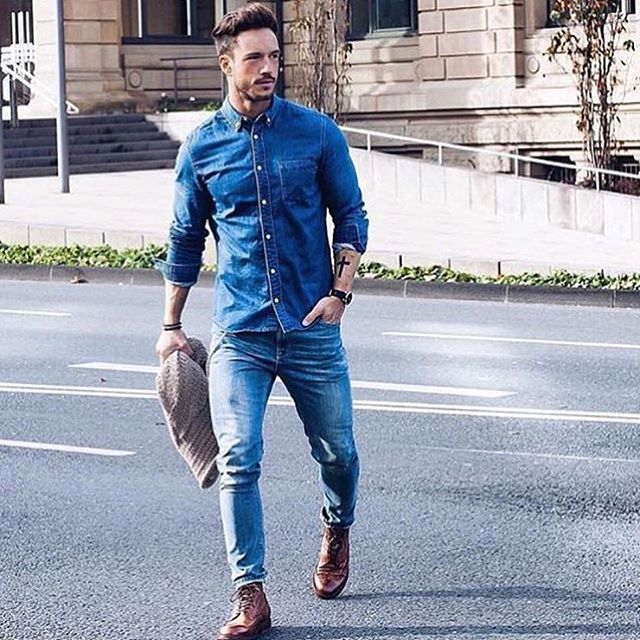 Mens denim outfit men 39 s chambray and denim style famous for Mens jeans and dress shirt