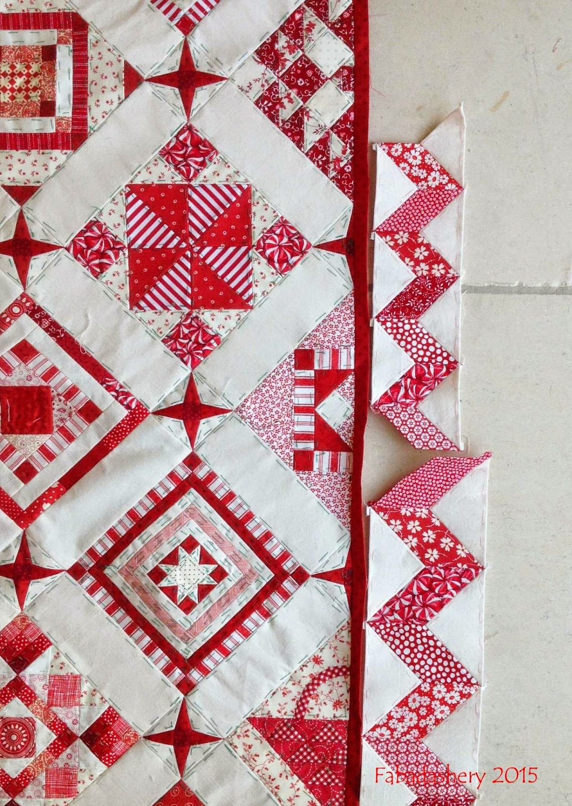 Nearly insane quilt small red with white zig zag border all epp