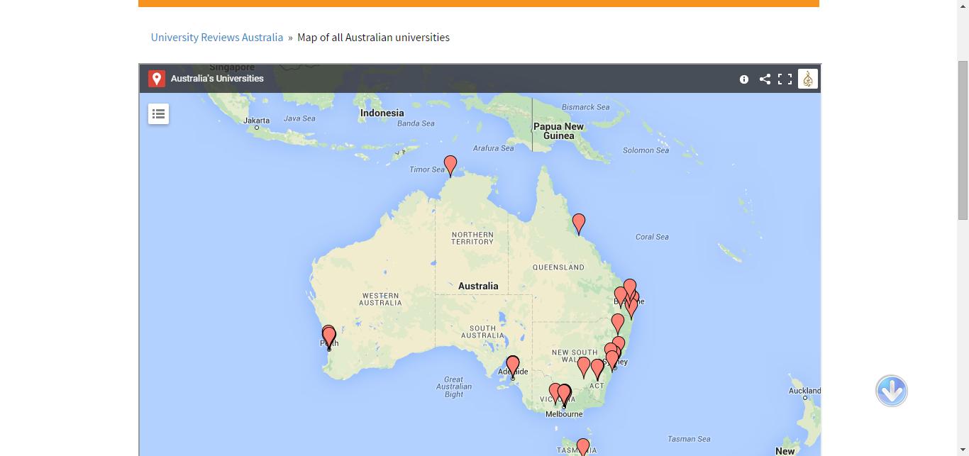 Australian Universities Map | Reviews Ratings Rankings | 08 ...