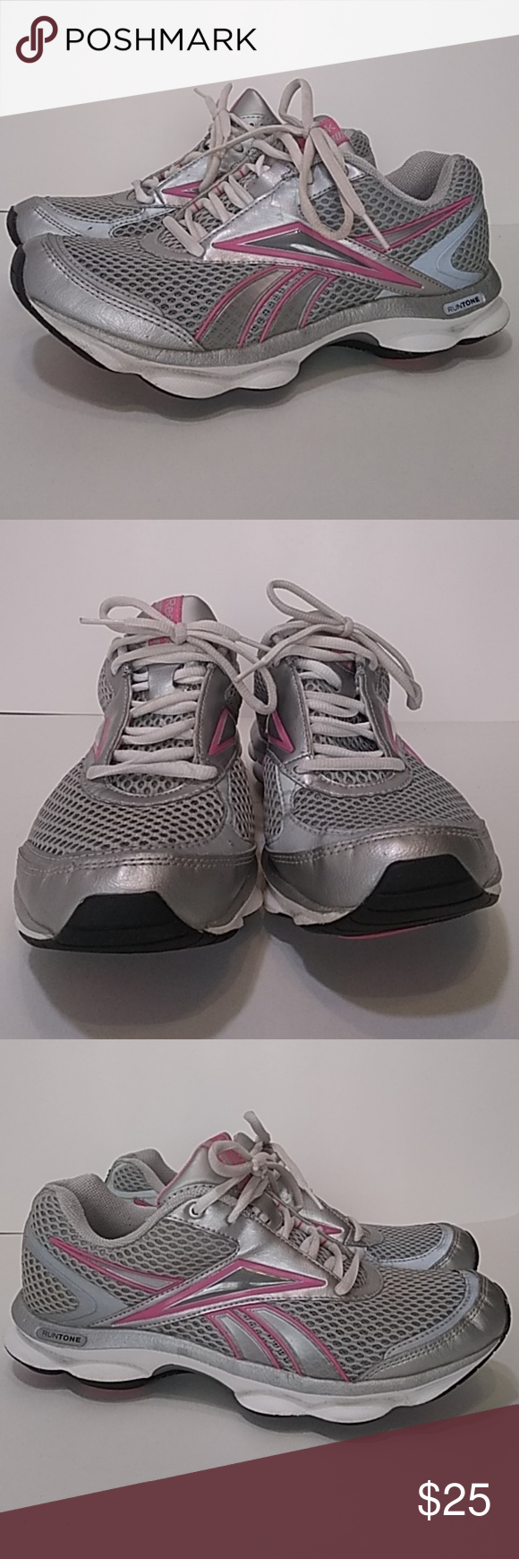 54fe43f2c4f Reebok Women s Runtone Grey Pink Running Shoes Pre-owned some light wear .  Small hole in top back area around ankle in one shoe. Small crack in  leather on ...