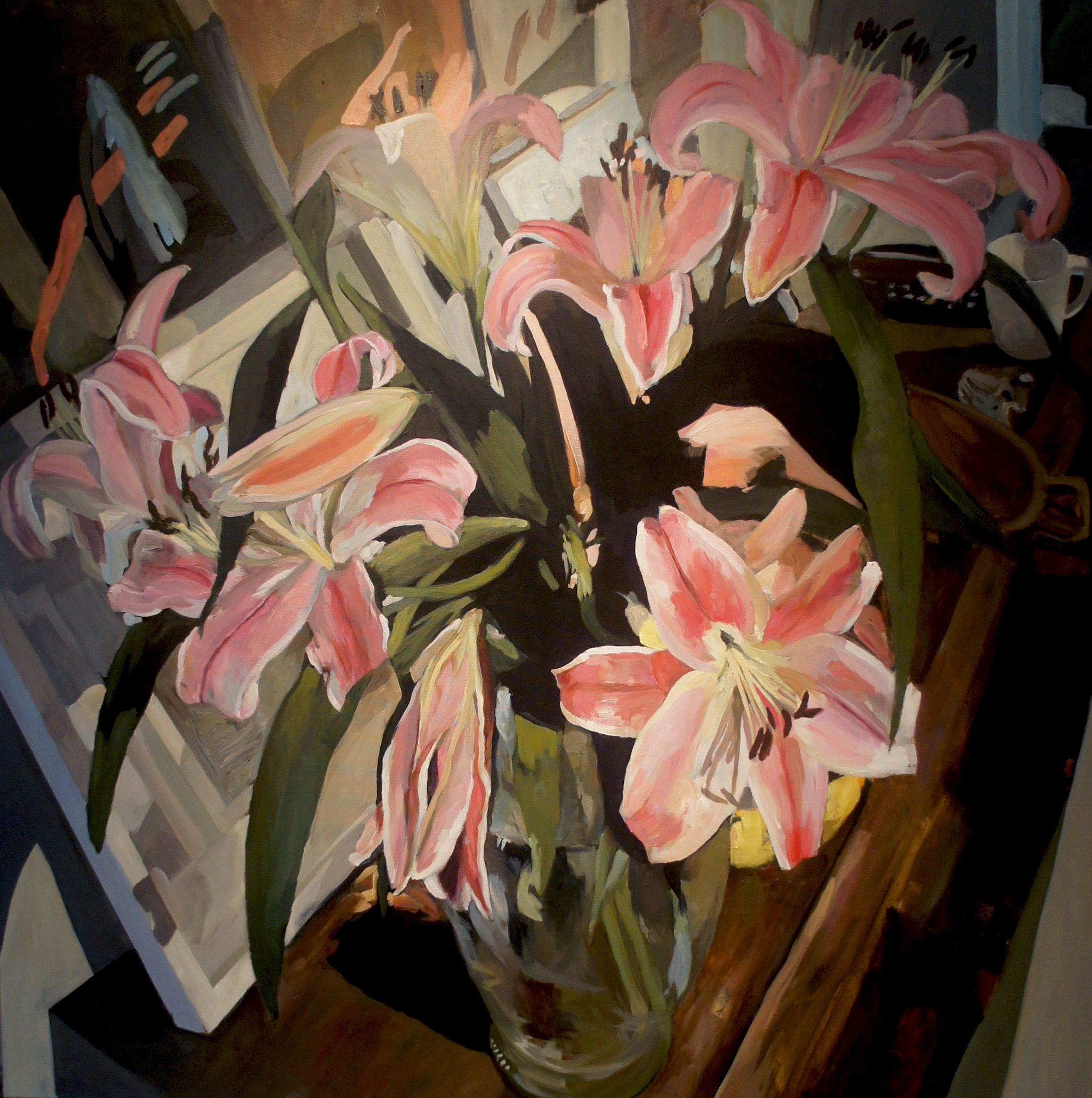 Oriental lilies in glass vase oriental lily oriental and paintings oriental lilies in glass vase by ray saunderson paintings for sale izmirmasajfo Image collections
