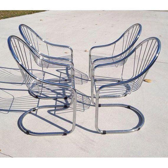 Mid Century Modern Baughman Bertoia Italian Chrome Tubular Cantilevered Dining Table Chairs