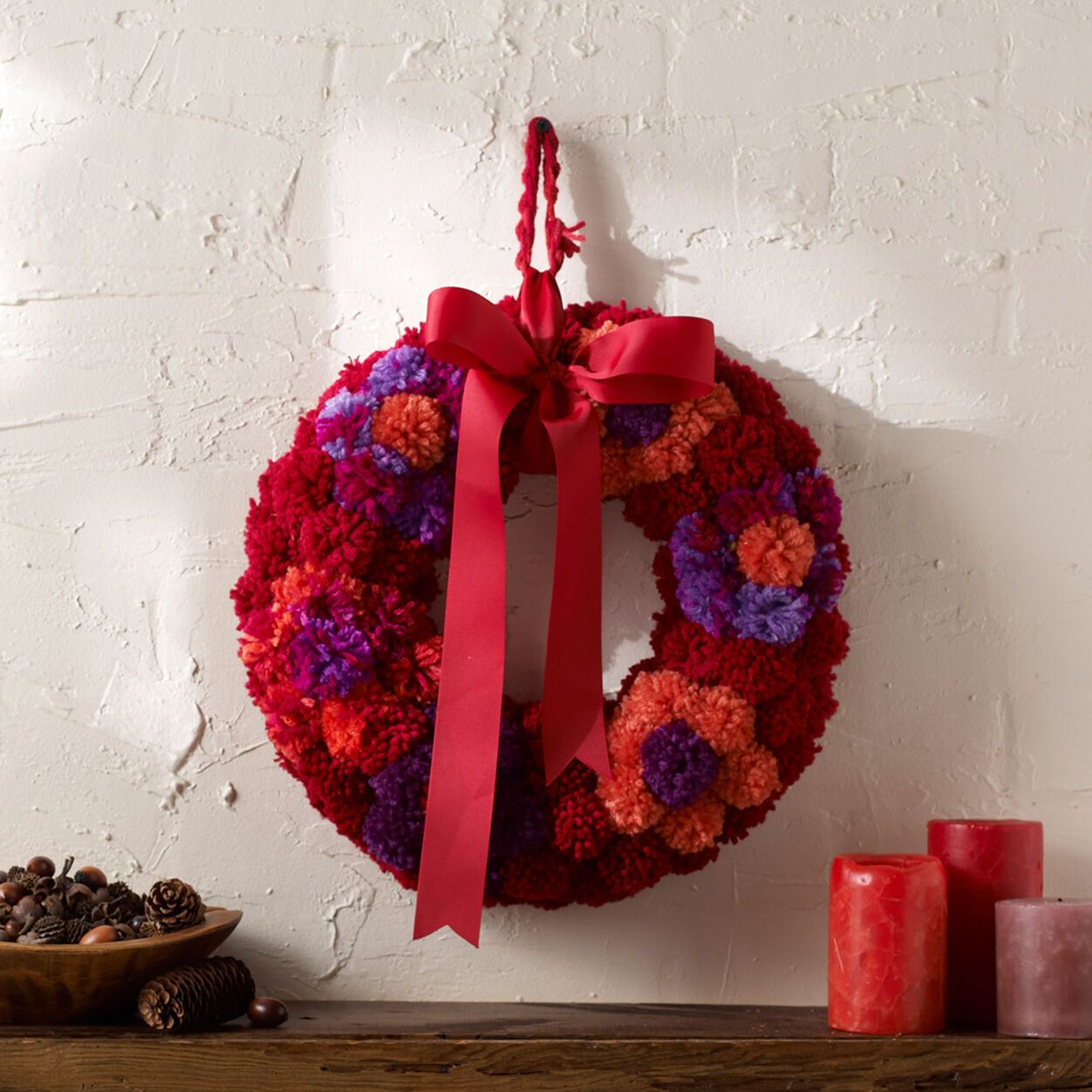 Photo of Red Heart Mums in Fall Wreath | Yarnspirations