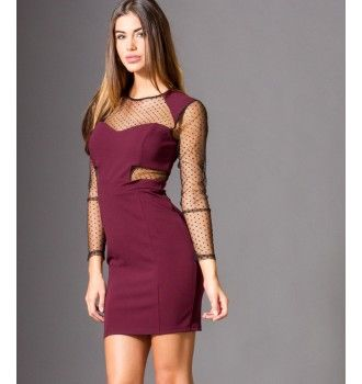 9c8823f3026f Mini Φόρεμα με Τούλι Πουά Ντεκολτέ - Βυσσινί