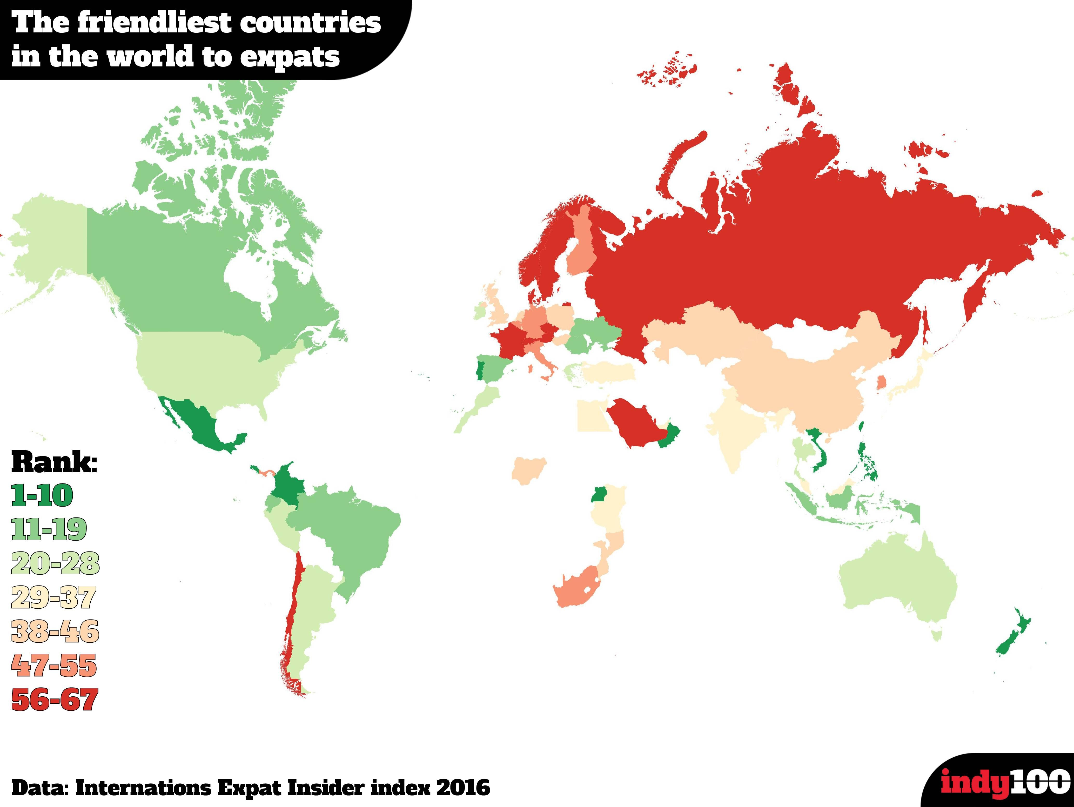 The Friendliest Countries to Expats Map | Maps & Graphs ...