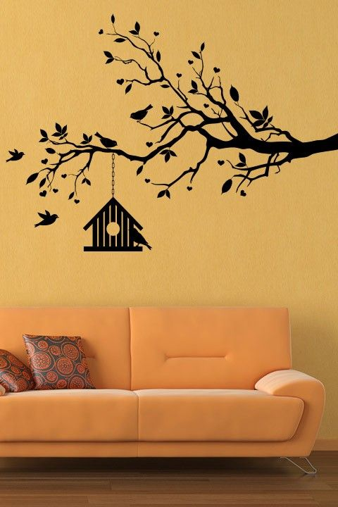 Bird House on Spring Tree Wall Sticker - These wall designs showcase ...