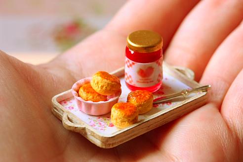 Miniature scones and jam
