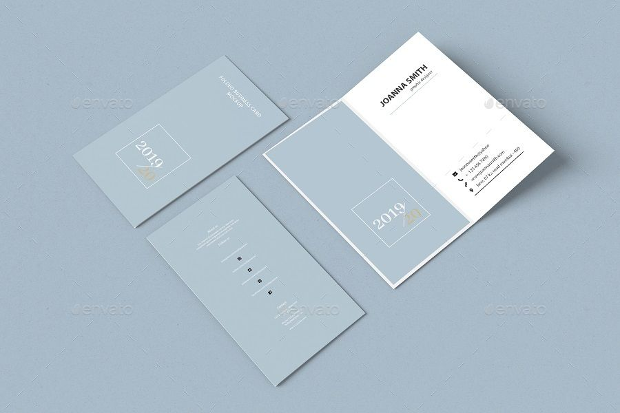Folded Bifold Business Card Portrait Fill Paper Cards Bifold