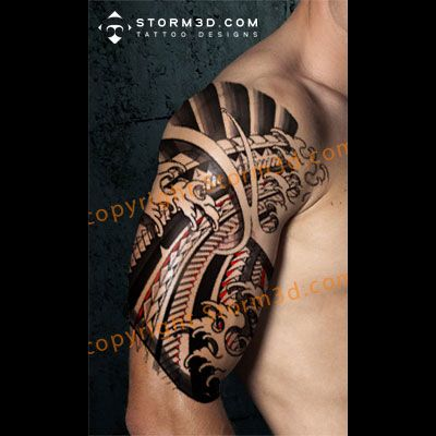 japanese and polynesian mixed tattoo design with fingerwaves tattoos pinterest japanese. Black Bedroom Furniture Sets. Home Design Ideas