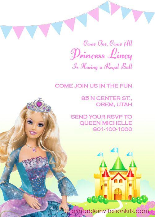 barbie invitation template