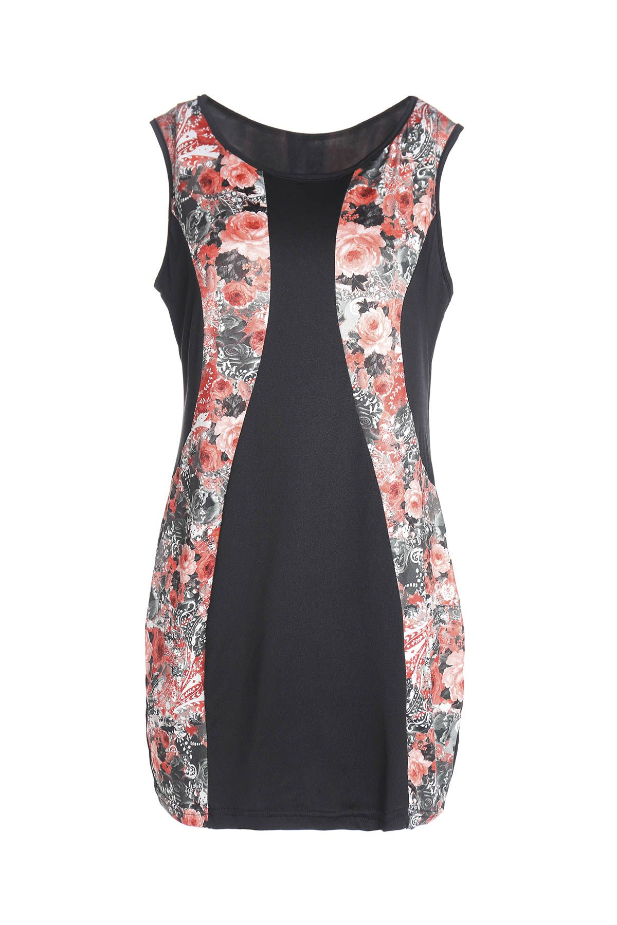 Charming Red Floral Printed Sleeveless Bodycon Mini Dress
