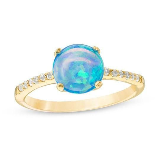 Zales 8.0mm Lab-Created Opal Solitaire Ring in 10K Gold B2Co3I