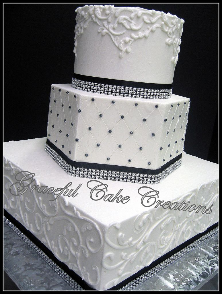 Elegant White Wedding Cake With Black Ribbon And Bling Flickr | This ...