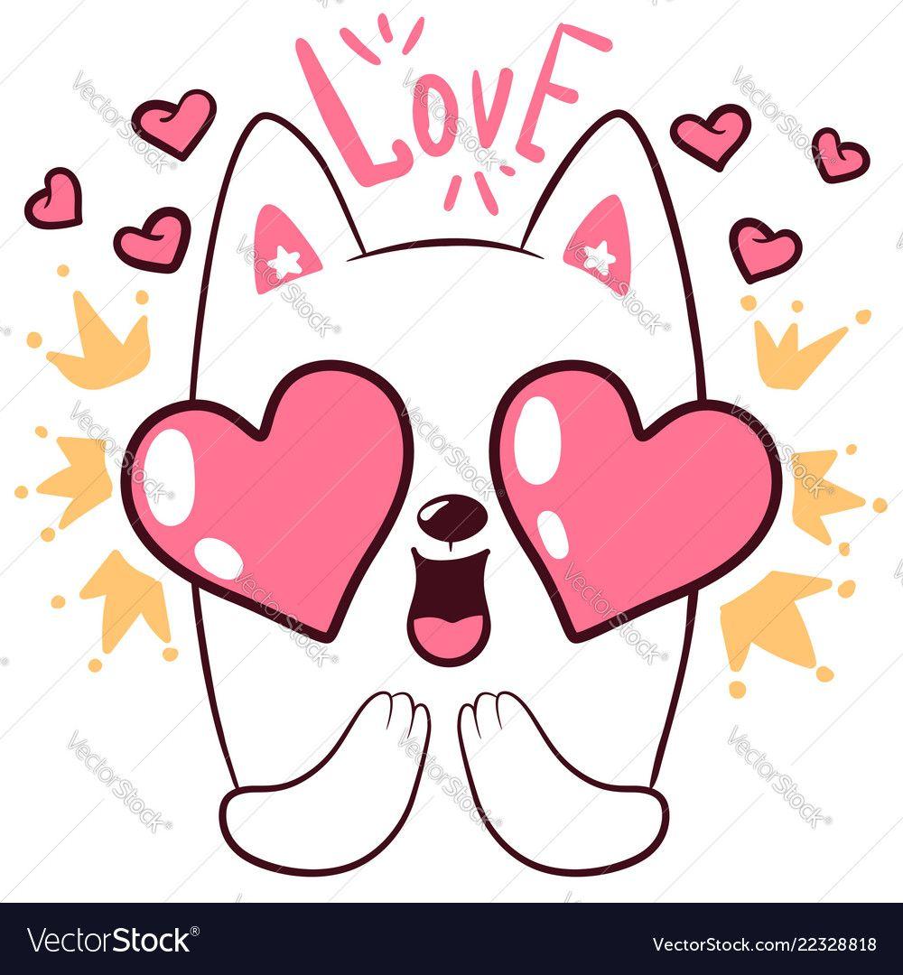 Cute love cat little princess characters vector image on в