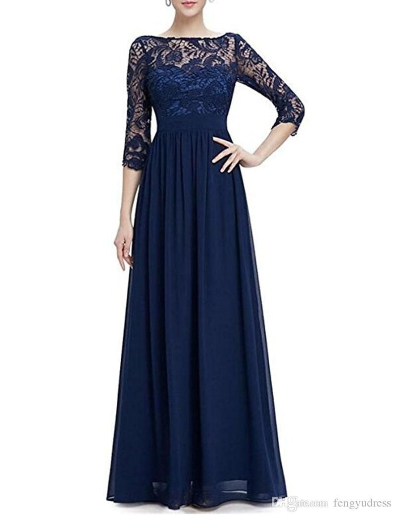 Navy Blue Mother Of The Bride Dresses Long Sleeve Beads Cheap Lace Wedding Guest Dres Mother Of The Bride Dresses Long Lace Wedding Guest Dress Maxi Dress Prom [ 1044 x 800 Pixel ]