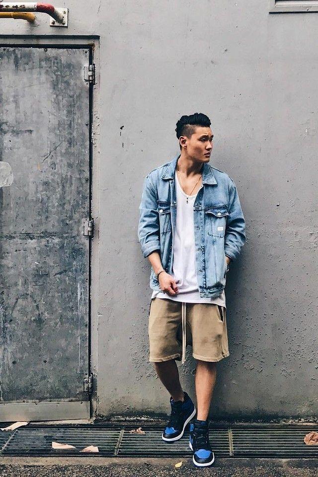 38cea9f7083 Timothy Koh wearing Nike Air Jordan 1 Retro, Fear of God x Pacsun Shorts,  Calvin Klein Denim Jacket