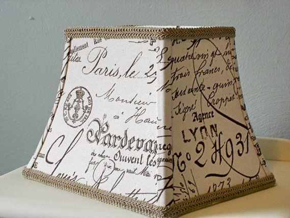 French script lampshade paris vintage document script fabric french script lampshade paris vintage document script fabric lamp shade country french decor aloadofball Image collections