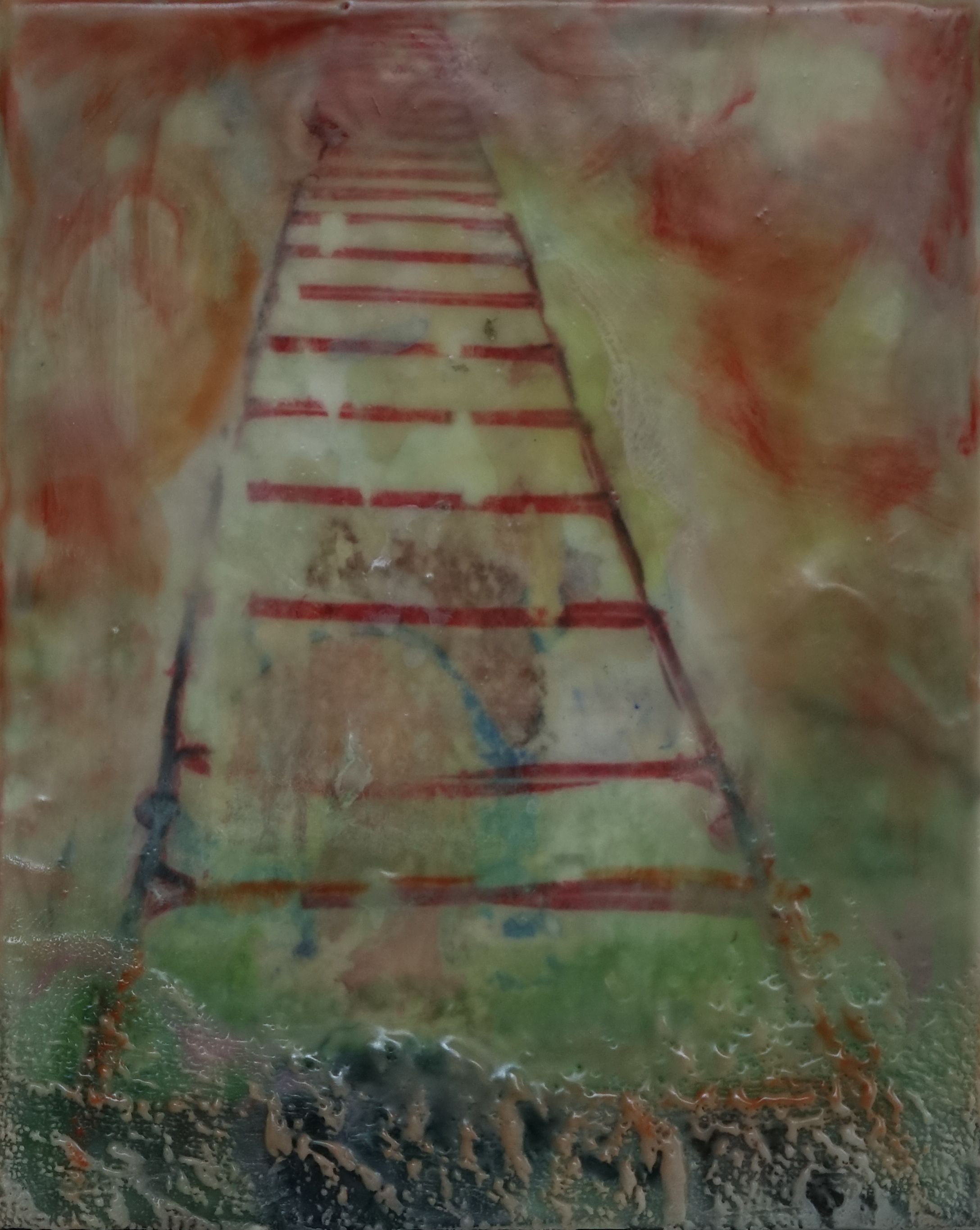 Rita Adams, Red Ladder....Noni, Encaustic mixed media on board, 9x12
