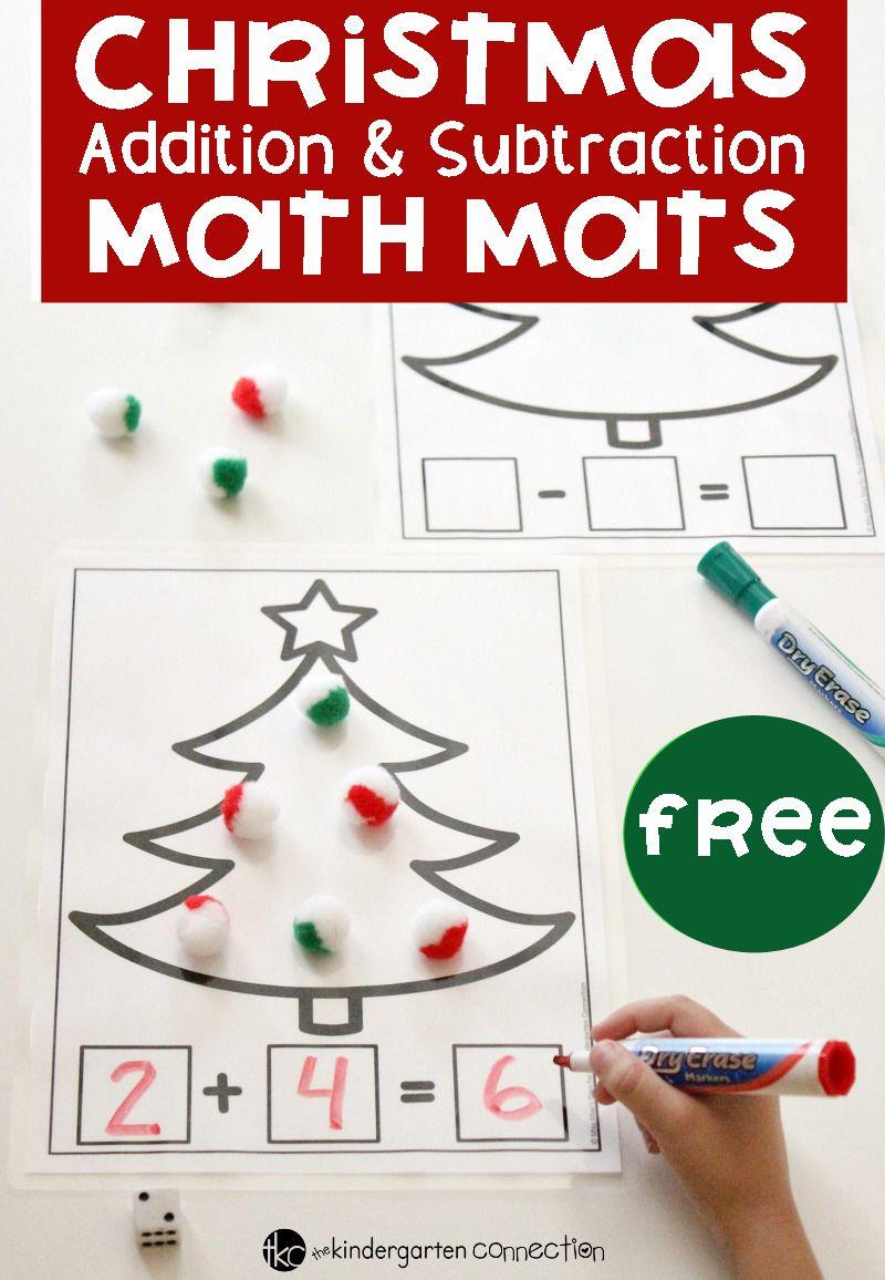 Christmas Addition And Subtraction Math Mats Christmas Math Kindergarten Christmas Math Centers Christmas Math Activities