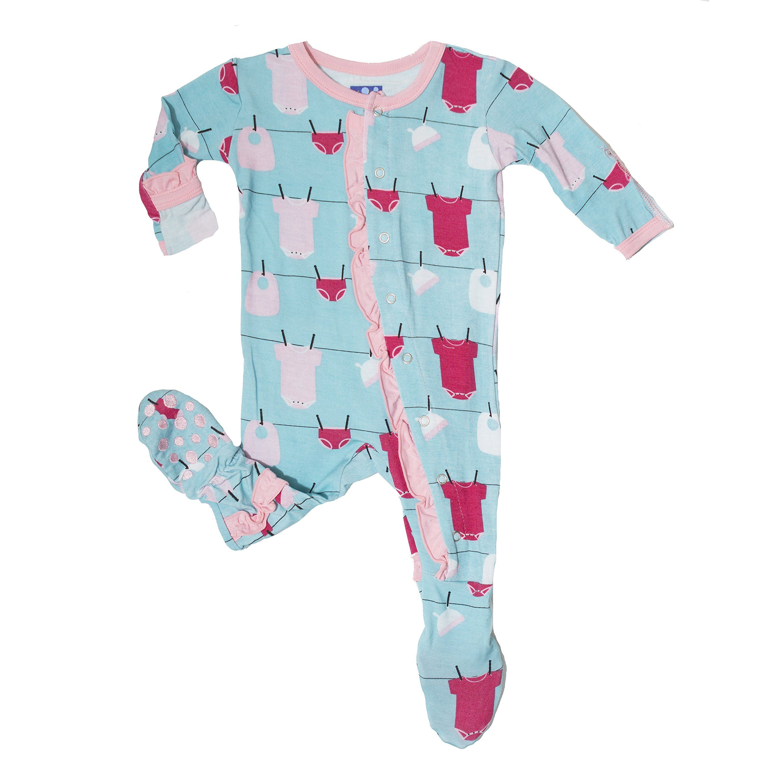 KicKee Pants Little Girls Ruffle Footie Pajama Natural Flip Flop