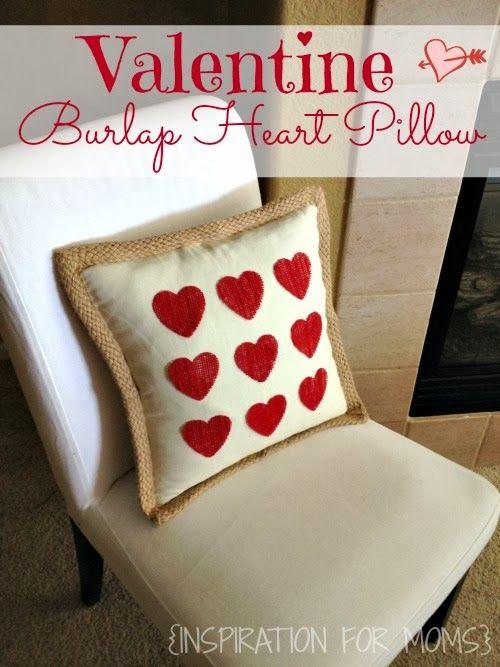 DIY No-Sew Valentine Burlap Heart Pillow | .inspirationformoms.com #valetineday & No-Sew Burlap Valentine Heart Pillow | Heart pillow Burlap and ... pillowsntoast.com