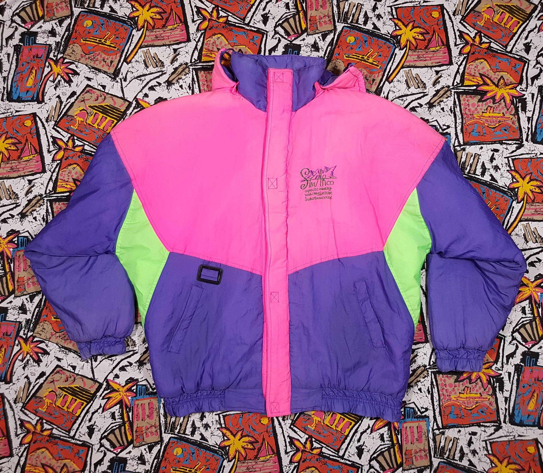 Vintage 90/'s LASPEZIA Neon Multicolour Abstract Art Jacket Sportswear Colorblock Skiwear Hoodie Snow Jacket Size M