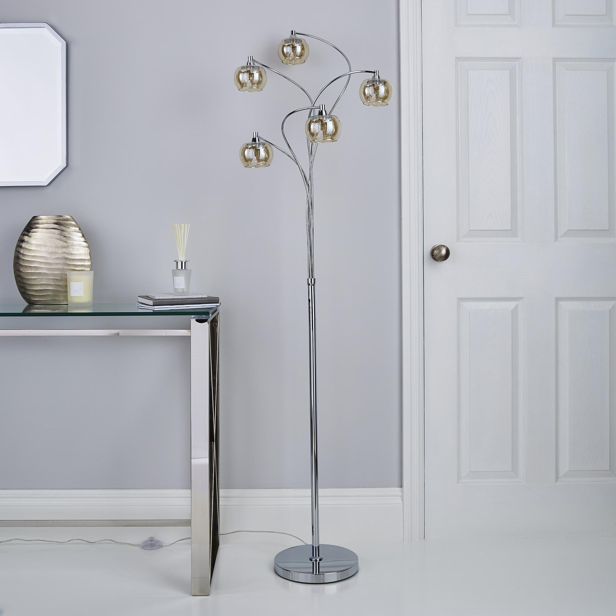 Seychelles 5 Light Smoked Glass Floor Lamp In 2020 5 Light Floor Lamp Floor Lamp Chrome
