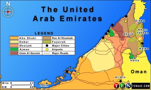 UAE map with roads | Dubai, Abu dhabi, Ras al khaimah