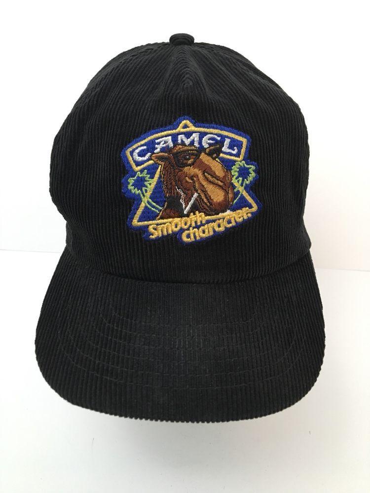 6c49aa5840009 Vintage Camel Cigarette Corduroy Hat Black Snapback Smooth Character NWOT   Unbranded  BaseballCap