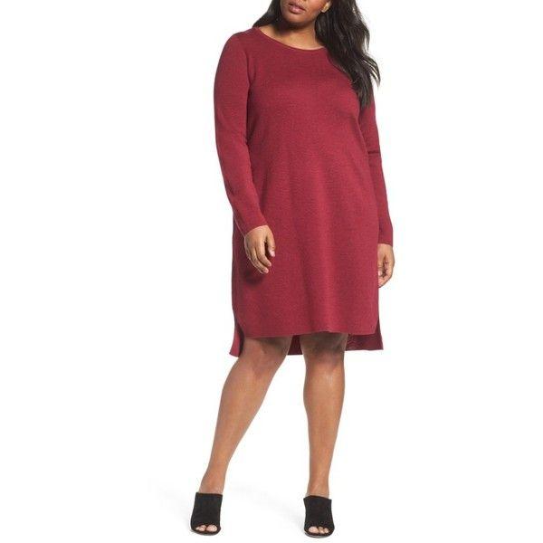 614b86350ea Plus Size Women s Eileen Fisher Merino Wool Sweater Dress ( 298) ❤ liked on  Polyvore
