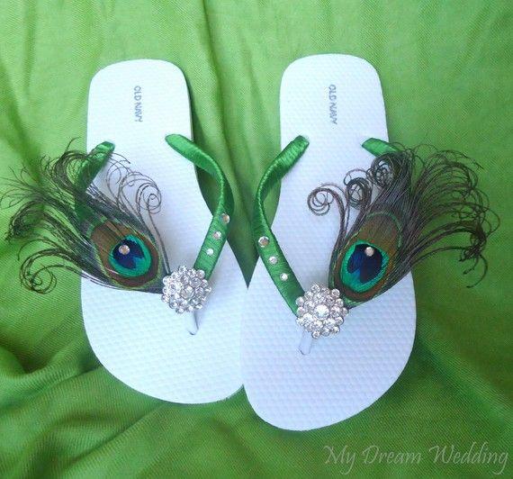 30318bac75d8 Items similar to Tropical Wedding Bridal Peacock Feather Flip flops  SWAROVKI CRYSTALS. (Set of 7 pairs of flip flops) Bridesmaid Bridal Party