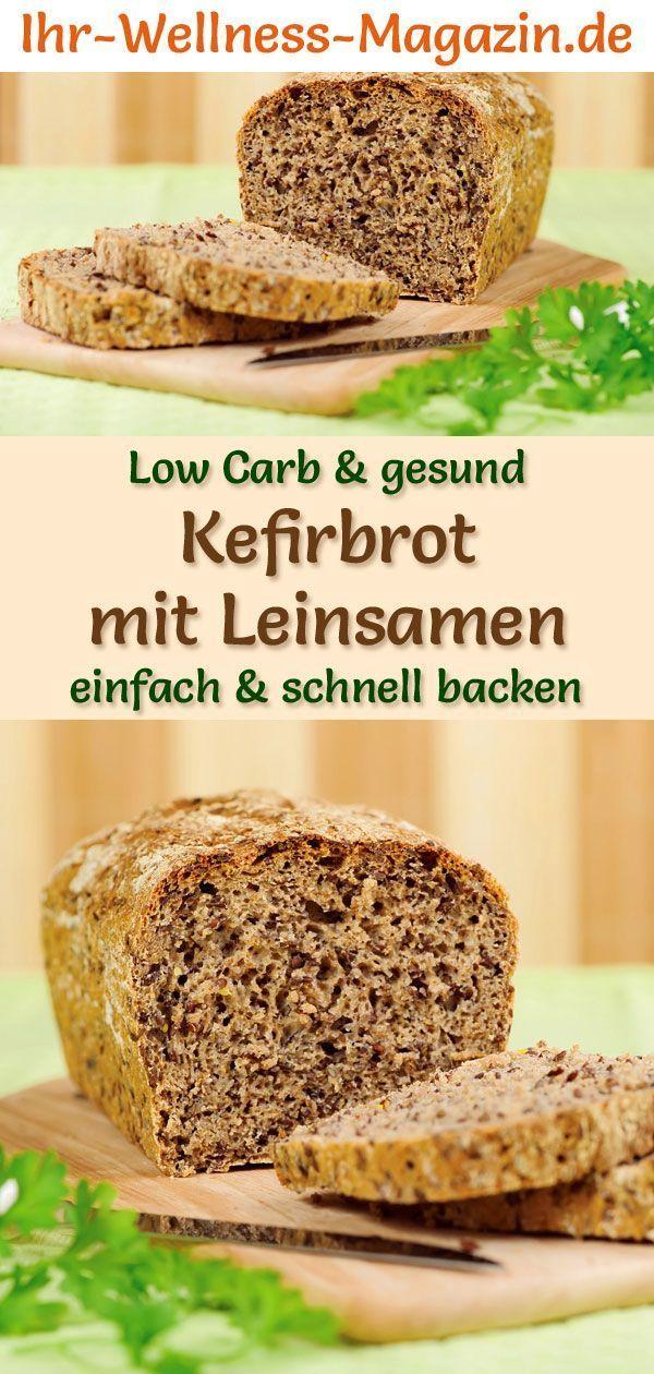 Low Carb Kefirbrot mit Leinsamen - gesundes Rezept zum Brot backen #flaxseedmealrecipes
