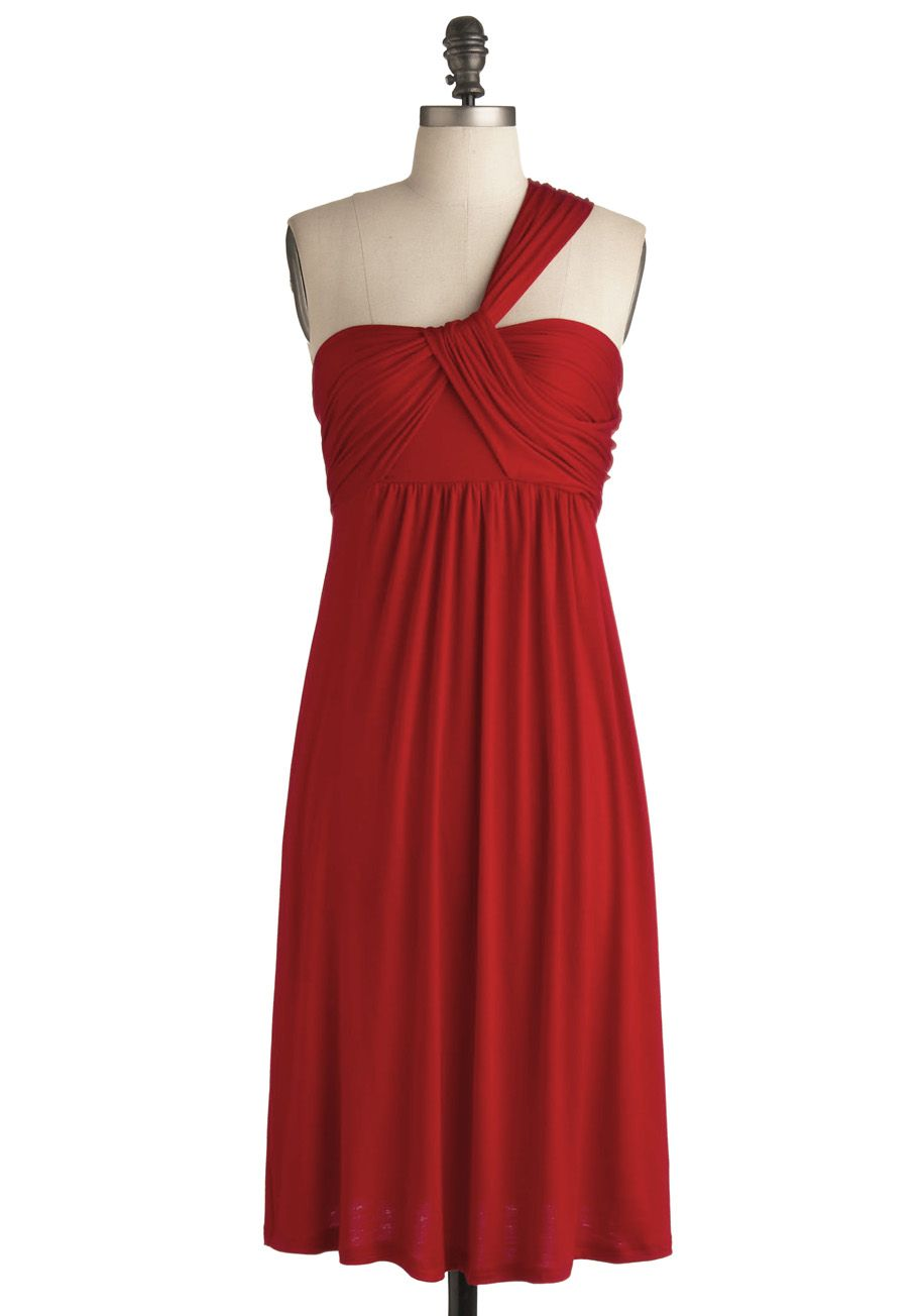 SoCal Bungalow Dress in Scarlet - Red, Solid, Casual, A-line, Empire, One Shoulder, Spring, Summer, Long