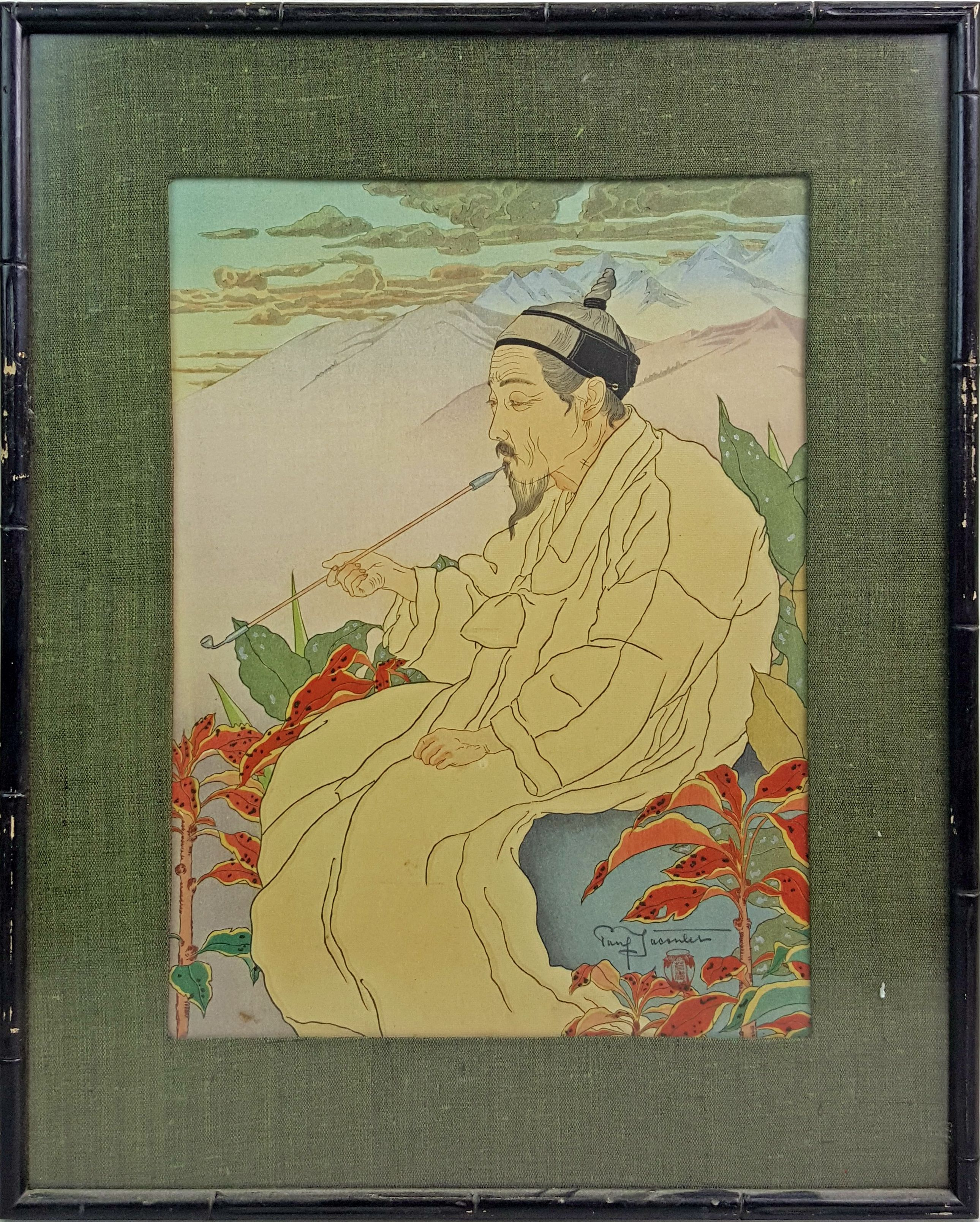 "Lot 1365: Paul Jacoulet (1902-1960) Pencil Signed Woodblock ""Hokklan-Zan Seoul, Cree"" Print March 26, 2016"
