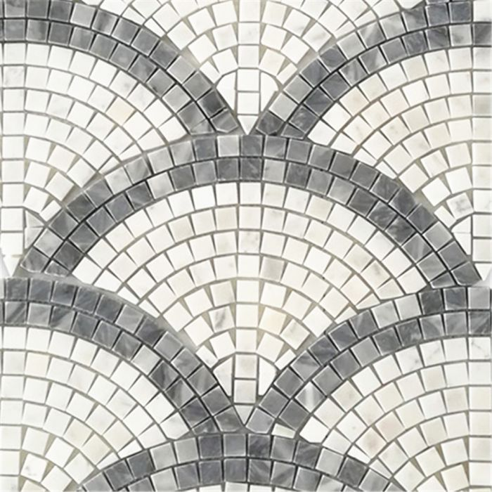 Carrara White Marble Fish Scale European Fan Mini Mosaic Tile w/ Bardiglio Gray Honed #whitemarbleflooring