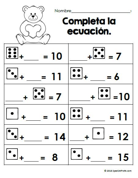 free bilingual february math worksheets first grade gratis matematicas bilingual math. Black Bedroom Furniture Sets. Home Design Ideas