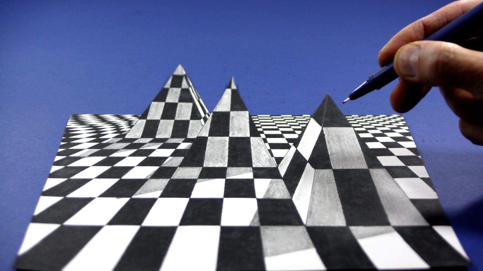 Drawing 3d Chess Pyramid Visual Illusion Visual Illusion