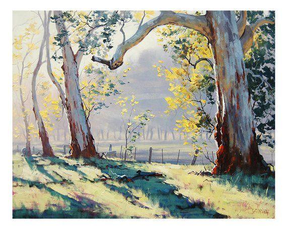 TREES PAINTING ORIGINAL oil Painting Australian Eucalyptus trees Sheep landscape by G.Gercken