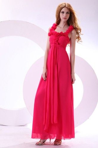 Zipper Empire Sleeveless Square Fuchsia Evening Formal Dresses
